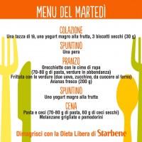 menu settimanale dieta zona esempio