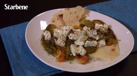 Insalata di feta con peperoni e pane carasau - Video ricetta