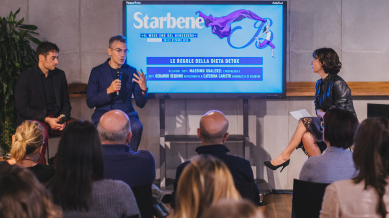 La giornalista Caterina Caristo con il cardiologo Massimo Gualerzi e il nutrizionista Gerardo Sequino (primo a sinistra)