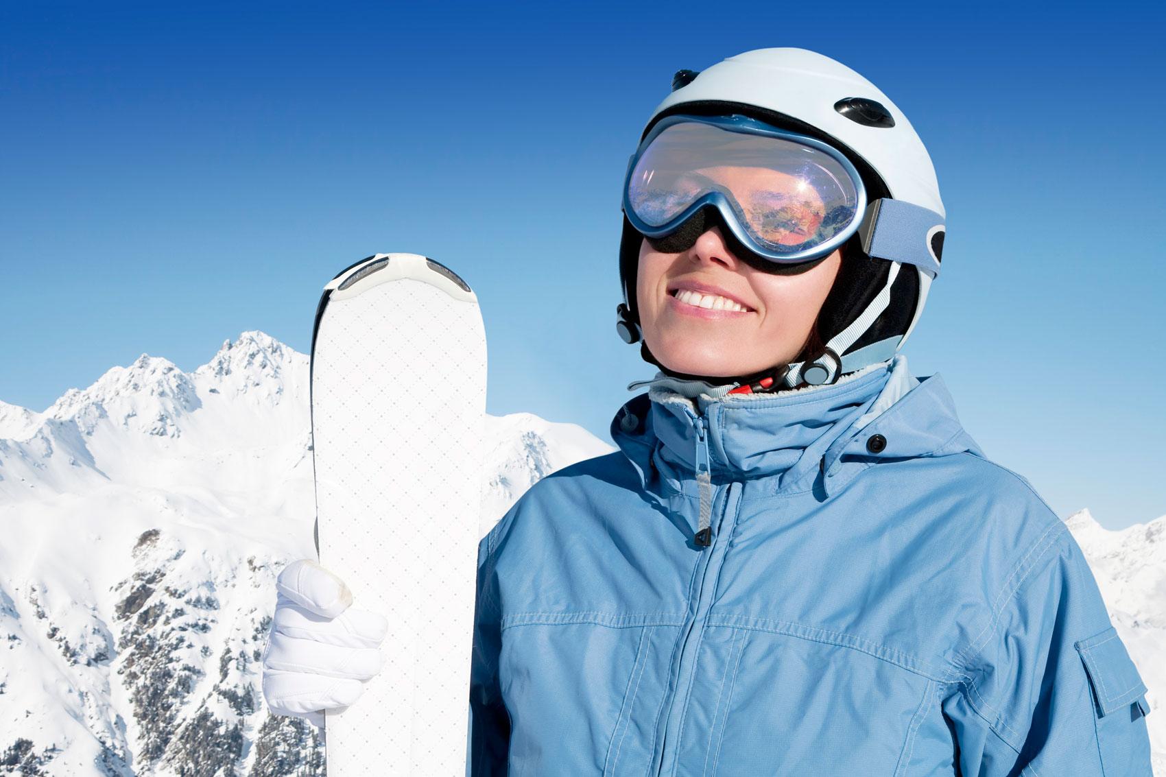 casco da sci, montagna, sciare, neve